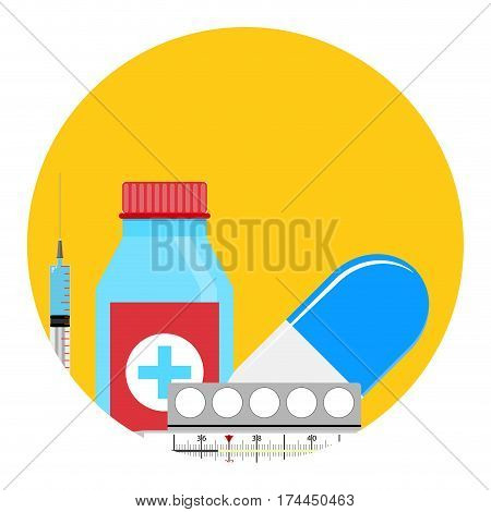 Treatment of influenza app icon. Medical tablet and syringe with thermometer. Vector illustration