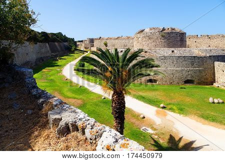 Medieval Castle of the Knights in Rhodes, Greece. It is one of few examples of Gothic architecture in Greece.