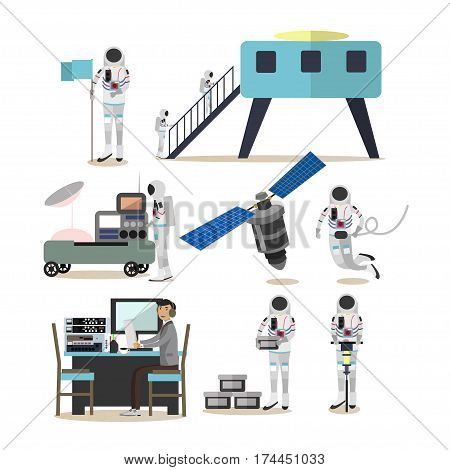 Vector set of space exploration concept design elements isolated on white background. Mission control center personnel, astronauts, satellite, space base and space rover in flat style.