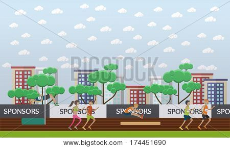 City stadium flat design vector illustration. Sportsmen and sportswomen running and jumping. Track and field athletics competition. Individual sports.