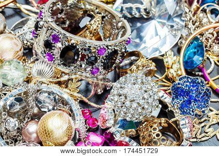 The Many fashionable women's jewelry. Brilliant bangles