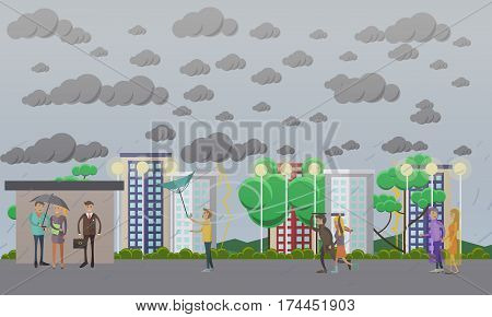 Storm, windy and rainy weather concept vector illustration in flat style. People running away from heavy rain, thunderstorm, lightning and waiting for bus at bus stop.