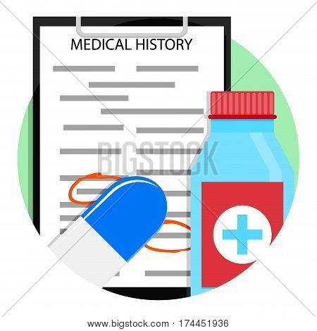 Medical treatment medicine icon. Prescription and diagnosis emblem vector illustration