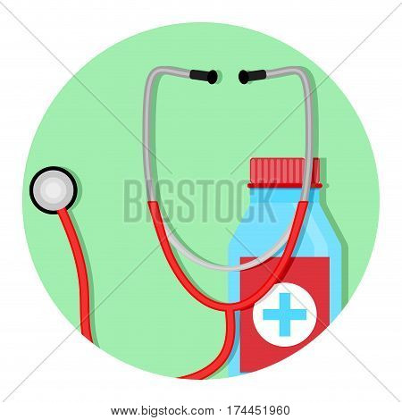 Diagnosis and treatment of icon. Healthy and medical logotype healthcare and therapy. Vector illustration