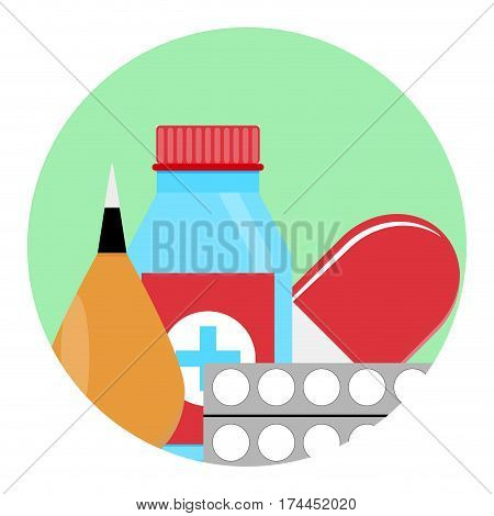 Drugs and Medications icon. Healthcare and therapy cure and glass bottle with tablet. Vector illustration