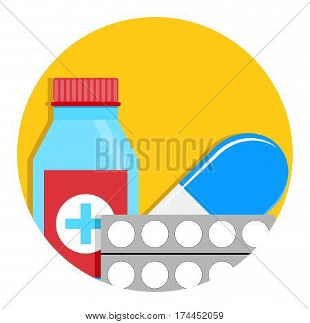 Drug icon vector. Antibiotic for therapy aid and help illustration