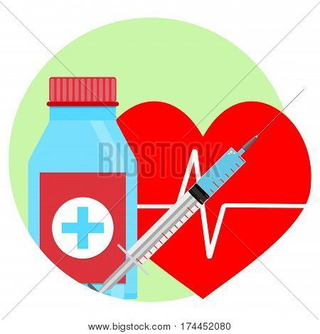 Drugs for heart icon. Tablets and injection vector illustration. Help and reanimation