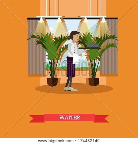 Vector illustration of waiter serving a dish in platter with lid. Restaurant staff concept design element in flat style.