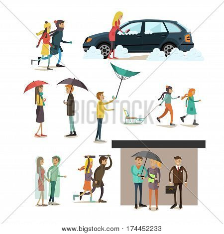 Vector set of rainy, windy, snowy weather concept flat style design elements, icons isolated on white background. Characters walking in blizzard, storm and rain.