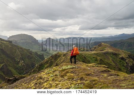 Scenic Fimmvorduhals hiking trail in Iceland during summer time
