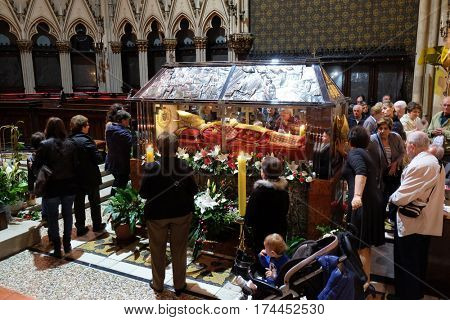 ZAGREB, CROATIA - APRIL 14: The faithful gather around the sarcophagus of Blessed Aloysius Stepinac in the Zagreb Cathedral, Zagreb, Croatia on April 14, 2016.