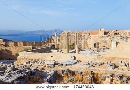 View of Acropolis in Lindos and Vliha bay. Rhodes Island, , Greece