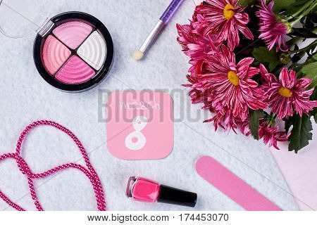 Blusher, beads and chrysanthemums. Women's day: gift for wife.