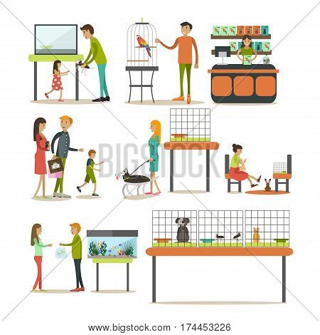 Vector set of zoo-shop concept design elements isolated on white background. Saleswoman, animals and people buying pets and food for them. Flat style design elements, icons.