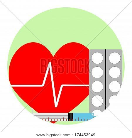 Cardiac injections and tablets. Pharmacy aid to heart sign of healthcare medication. Vector illustration