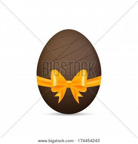 Easter chocolate egg. Glossy egg with gift bow and ribbon.