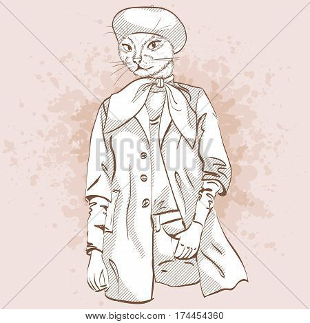 Vector elegant woman with cats head and beret and scarf
