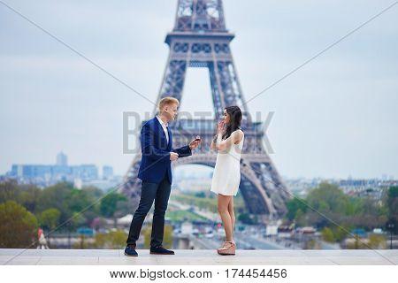 Happy Romantic Couple In Paris