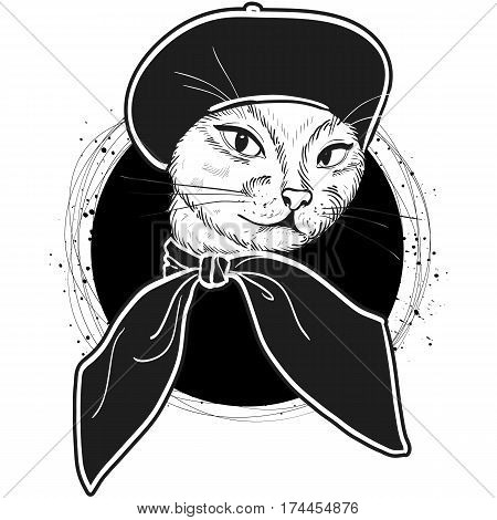 Vector color sketch of elegant cat woman face with beret and scarf