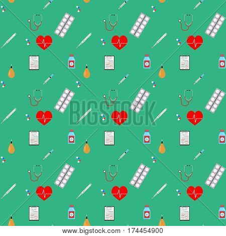 Healthcare and pharmaceutical seamless pattern with stethoscope for clinic . Vector illustration