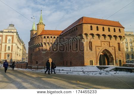 Krakow, Poland - January 6, 2011: Defensive tower in the Barbican is the gate of the medieval Krakow Poland