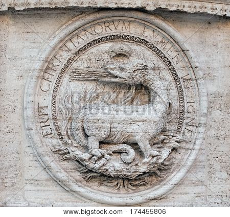 ROME, ITALY - SEPTEMBER 02: Heraldic salamanders on the facade of Chiesa di San Luigi dei Francesi - Church of St Louis of the French, Rome, Italy on September 02, 2016.