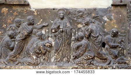 ROME, ITALY - SEPTEMBER 03: Bass relief in Basilica of Saint Sylvester the First (San Silvestro in Capite) in Rome, Italy on September 03, 2016.