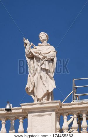 ROME, ITALY - SEPTEMBER 02: St. Albert, fragment of colonnade of St. Peters Basilica. Papal Basilica of St. Peter in Vatican, center of Christianity in Rome, Italy on September 02, 2016.