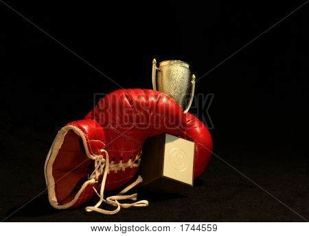 Red Boxing Glove Holding A Shining Cup
