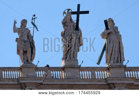 ROME, ITALY - SEPTEMBER 02: St. John the Baptist, Jesus, St. Andrew, colonnade of St. Peters Basilica. Papal Basilica of St. Peter in Vatican, center of Christianity in Rome, on September 02, 2016.