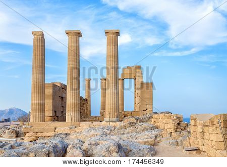 Greece. Rhodes. Acropolis of Lindos. Doric columns of ancient Temple of Athena Lindia the IV century BC