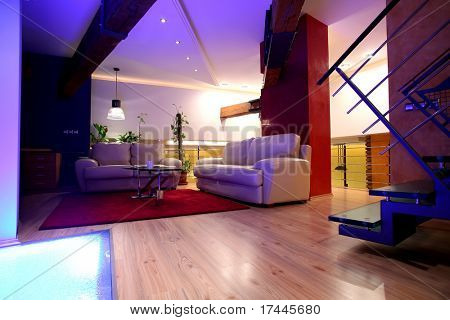interior of living room with floor lights