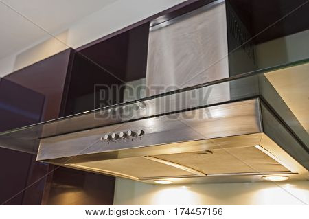 Closeup Of Cooker Hood In Kitchen