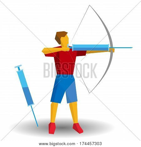 Archer In Blue And Red Shooting A Syringe. Medicine In Sport, Doping.
