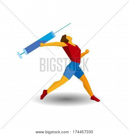 Athlete Throwing The Javelin In The Form Of Syringe