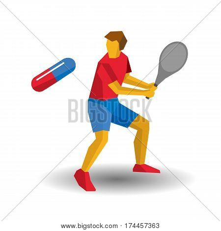 Tennis Player Batter Flying Pill. Medicine In Sport, Doping.