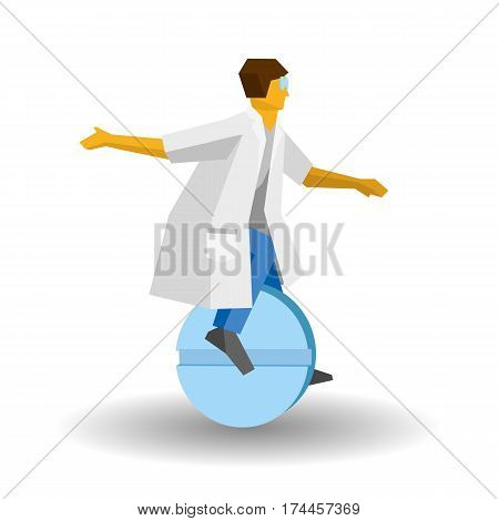 Doctor Rides A Tablet Like A Unicycle