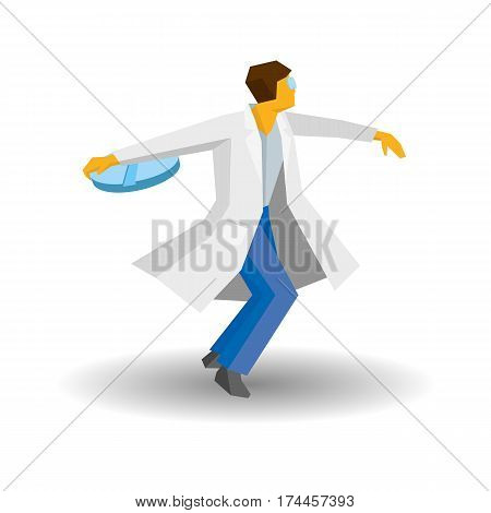 Doctor Throwing Tablet Like A Discus