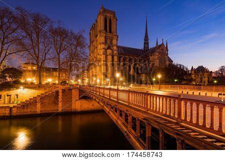Notre Dame de Paris cathedral at dawn with the Pont au Double and the Seine River. Ile de La Cite. 4th Arrondissement Paris France