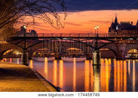 Sunrise on the Seine River Pond des Arts and Pond Neuf in the 1st Arrondissement of Paris (Ile de la Cite) France