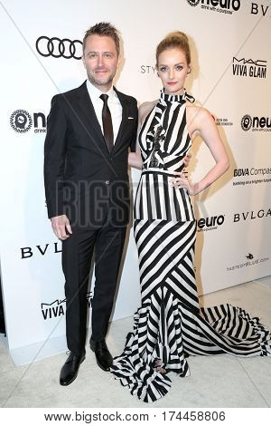 LOS ANGELES - FEB 26:  Chris Hardwick, Lydia Hearst at the 25the Annual Elton John Academy Awards Viewing Party at the  City of West Hollywood Park on February 26, 2017 in West Hollywood, CA