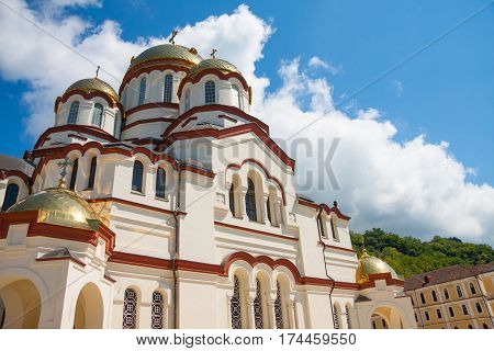 New Athos monastery of St. Simon the Canaanite monastery in the sunshine. New Athos, Abkhazia.