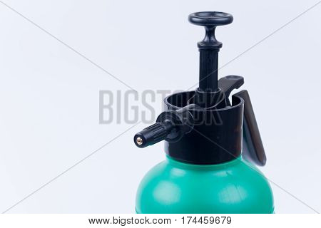 Handy Plastic Water Irrigation Pump. Isolated On White Backgroun