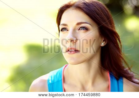 Portrait of sporty woman. outdoor sports. healthy sport lifestyle. athlete girl