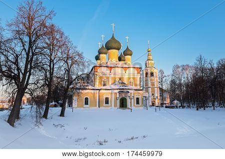 Transfiguration Cathedral of the Uglich Kremlin in the winter evening, Russia
