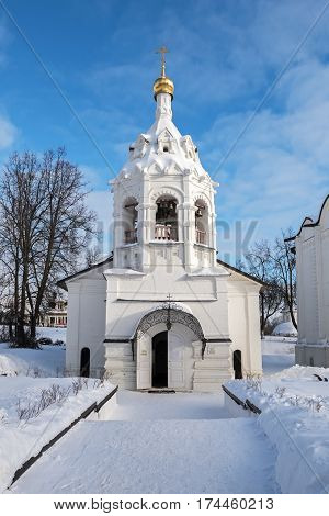 White Temple of the Great Martyr Paraskeva in Sergiev Posad in winter, Russia