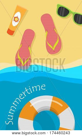 Summertime vector concept. Leisure on seacoast. Coastline with flops, sunscreen, sunglasses on sand and rescue circle on water. For travel company ad, vacation concept, printed materials, web design