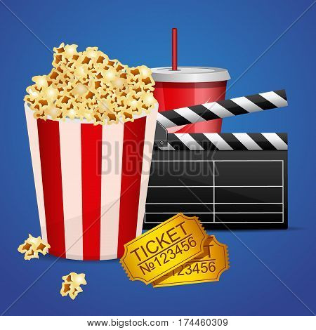 Realistic cinema movie poster template with film clapper, tickets, popcorn and cola.