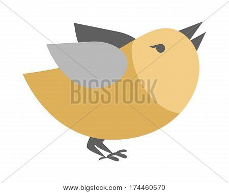 Cartoon bird isolated on white background. Abstract titmouse or bullfinch in flat style. Vector simple illustration for children. Funny creature in retro comic design in golden and grey colors