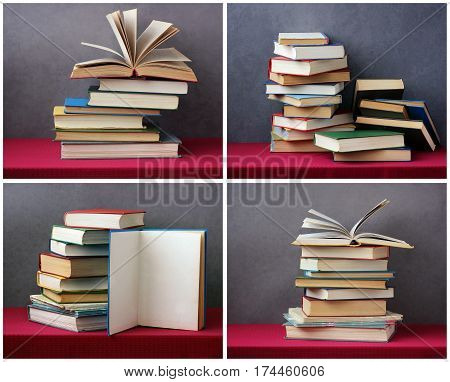 stack of books on the table with a red tablecloth. an open book with curled leaves laying on top.